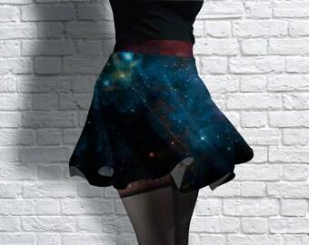 Galaxy Print Design 2 Scuba Skater Skirt