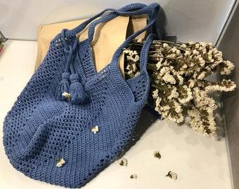 Blue Crochet Bag, Natural cotton summer tote,large crochet beach bag,boho purse,handmade summer bag, crochet shoulder bag, crochet handbag