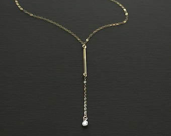 Gold Fill Bar and Crystal Lariat Style Rosary Y Necklace