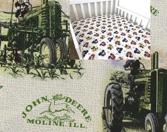 Cotton Tractor Cars Fitted Sheet Transport Toddler Girl Boy Bedding John Deere Nursery Changing Pad Cover Mini Crib Twin Full Queen Sheet