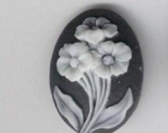 Three flowers resin cameos, 25mm x 18mm, set of 3 #cam818Q
