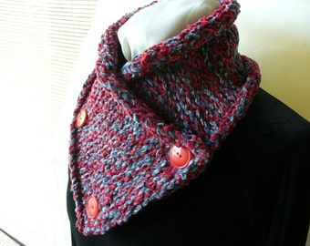 Knitted Cowl Neckwarmer in Red and Blue