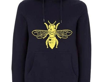 Black organic cotton, climate neutral gold bee hoody