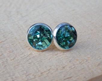 Mint Glitter Stud Earrings - jewelry posts, accessories, women, Silver Earrings, Bling, Sparkle Earrings, glitter flake, Gift for Her