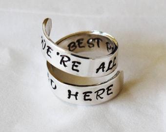 Alice nel paese delle meraviglie gioielli - siamo All Mad Here - The Best persone sono avvolgere mano timbrato gioielli anello anello citazione | Alice Ring