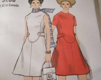 Vintage 1960's Vogue 7807 Mod Dress Sewing Pattern Size 16 Bust 38
