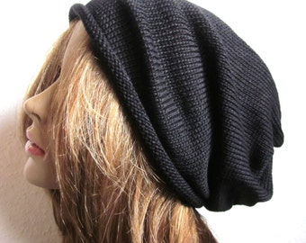 Black Knit Cotton Beanie Hat, CITY-Streetstyle, Indoor Yoga Tam, slouchy, extra long, oversized