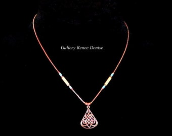 Copper Southwestern Necklace Faux Turquoise Bead Heart Cowgirl Necklace SWN147