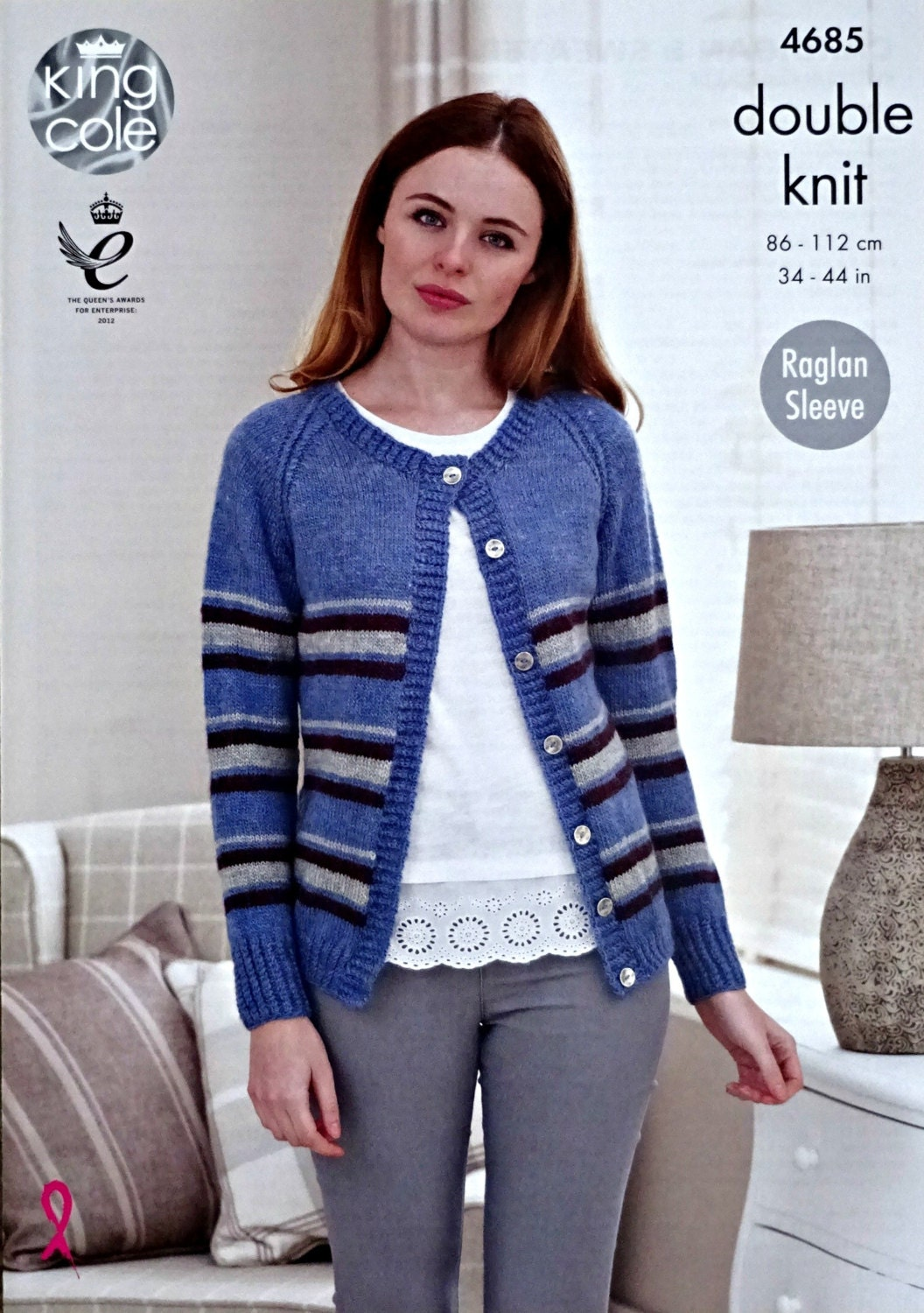 Womens Knitting Pattern K4685 Ladies Long Sleeve Striped Cardigan ...