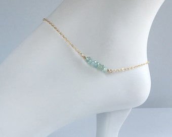 Anklet - Ankle Bracelet - Dainty Ankle Bracelet - Something Blue Anklet - Aquamarine jewelry - Bridal Jewelry - Gift for Her