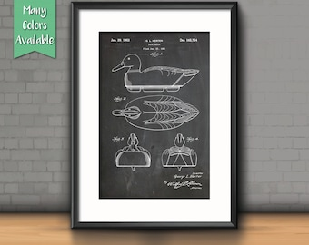 Duck Decoy Patent Poster, Gifts for Hunters, Duck Hunting, Sports, Cabin decor, Sports