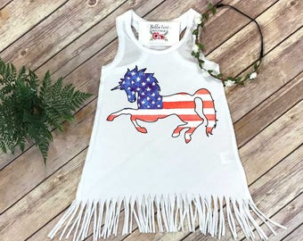 Labor Day Dress, Fourth of July Dress, Independence Day, Patriotic Unicorn, Fringe Dress, Memorial Day, Summer Dress, Made in USA, Unicorn