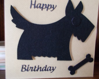 Scottish Terrier birthday card, Black scotty birthday card