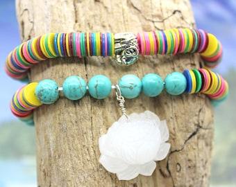 Vinyl Bead Stacking Bracelets  - Stretch Bracelet, Lotus Flower Bracelet, Ganesh Bracelet, Turquoise Bracelet, Yoga Jewlery