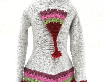 Instant download PDF crochet pattern - Loup hooded cardigan - ladies sizes XS to XL - Easy crochet - English, French and German versions