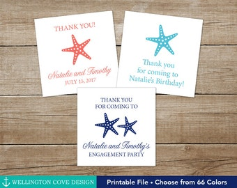 Printable Starfish Favor Tags • Beach Wedding Birthday Bridal Shower Baby Shower Engagement Party • Tropical Island Theme • Coral Aqua Navy