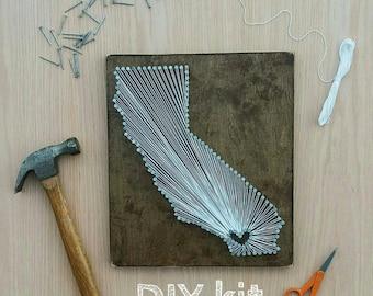 DIY California String Art Kit, State string Art Kit, California Nail Art, Rustic Decor, custom sign, California love, CA home, CA, 12x13