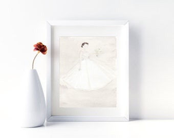 Wedding Dress portrait. First anniversary (paper) gift.  Original watercolor. Wedding Dress Painting