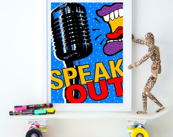 Speak Out, dorm poster, political poster, first amendment, silence breakers, free speech, free press, girl power, journalist gift, #metoo