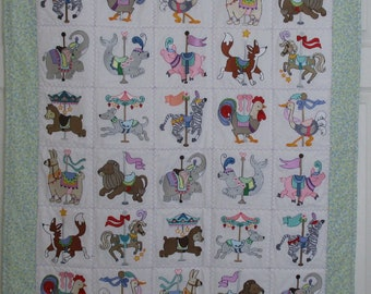 "Machine Embroidered Baby Quilt, Carousel Animals, Crib Quilt, Baby Quilt, Handmade Baby Quilt - Carousel Animals - approx 36"" x 42"""