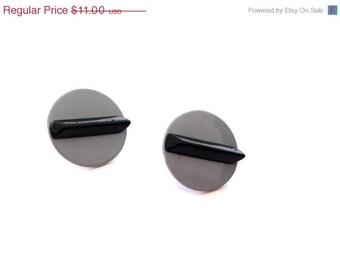 Vintage 1980s Earrings - Gray with Black Stripe
