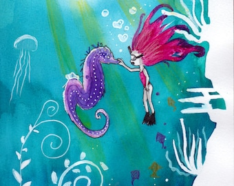 Ana Dess diving into the sea - Illustration