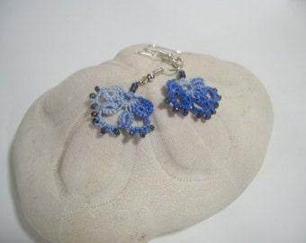 Tatted earrings in blues