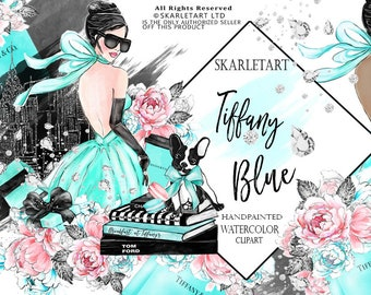 Fashion Clipart Watercolor Clipart Tiffany Clipart Girl Fashion Illustration Planner Cover Bridal Party Floral Girly Planner Supplies DIY