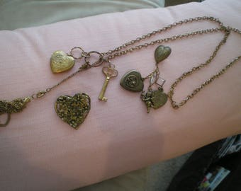 Three Pieces of Vintage 1980s Heart Jewelry Hearts, Cupid, Key