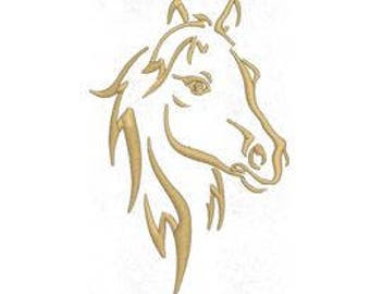 Horse Embroidery Design, Machine Embroidery Design Pattern File, 4x4 Hoop, MULTIPLE FORMATS Download
