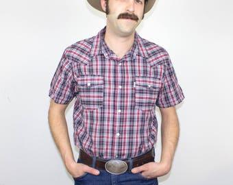Levi's Western Shirt, Pearl Snaps, Men's Medium 100% Cotton White Tag