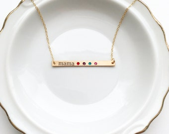 Engraved Birthstone Bar Necklace - Thin Personalized Birthstone Necklace, Personalized Gift for Mom, Birthstone Necklace Gift, Gift for Mom