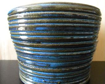 Ribbed Blue Stoneware Pot
