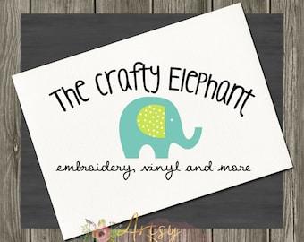 Elephant Logo Design, Watercolor Logo, Premade Logo, Instant Download Logo, PSD Logo Template, Craft Logo, Premade Instant Logo,  Logo #43