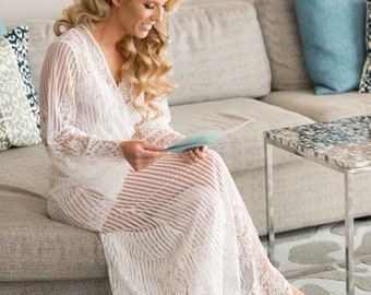 Full Length French Lace Robe for Bride, Glamorous Getting Ready, Dressing Gown