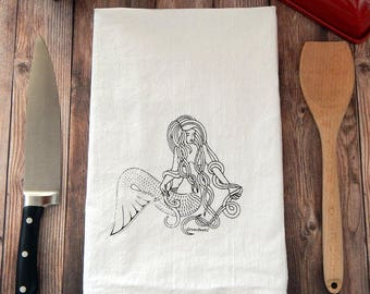 Mermaid Flour Sack Tea Towel - Kitchen Towel