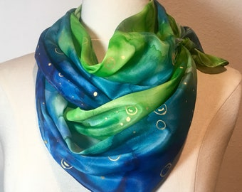 Under the Sea, green and blue watercolor silk scarf with golden bubbles, cruise resort style, seaside scarf, ocean life scarf