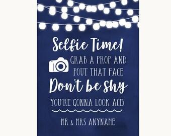 Navy Blue Watercolour Lights Selfie Photo Prop Personalised Wedding Sign