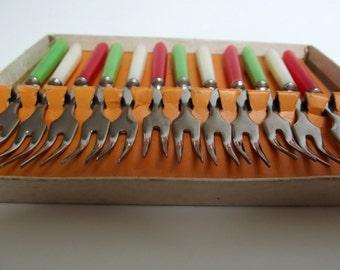 "Vintage 60s Flatware - Cocktail Forks - coloured plastic and stainless steel ""little forks"""