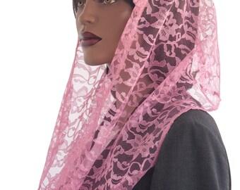 Kaatnu Veil™ Pink Lace Wrap Scarf Veil Headcovering Christian Scarf Modest Headcovering Catholic Veil Chapel Mass Veil Prayer Scarf Handmade