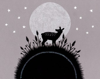 Moonrise - 8 X 10 inch Cut Paper Art Print