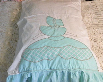 Sweet BIG SKIRT BELLE Pillowcase Dainty Pastel Aqua Lady on White Cotton, Ruffled Edge Vintage Handmade Cottage Linen, Single Case Unused