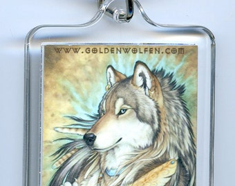 Tribal Native Anthro Wolf Wolves Keychain