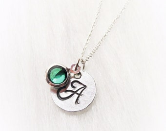 Name Initial with Birthstone charm, Necklace