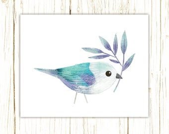Blue Gray Tanager Print -- bird art -- colorful bird art by stephanie fizer coleman illustration