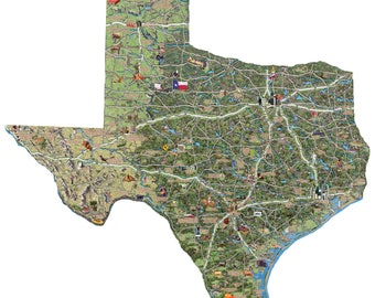 Texas Illustrated Map wood cutout