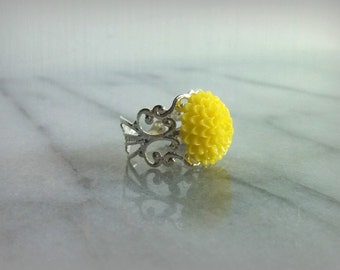 Sunshine Yellow Flower Filigree Ring adjustable silver band