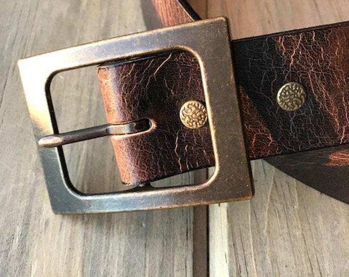 Antique Chocolate Buffalo Leather Belt