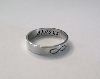 Personalized Band, Infinity ring, Valentines Gift