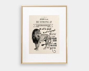 Joshua 1:9   Be Strong & Courageous   Christian Wall Art   Bible Verse Print   Bible Verse Wall Art   Scripture Art   Christian Print